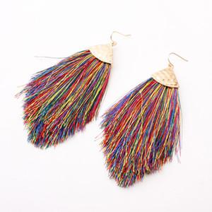 13 renkler Bohemian ulusal rüzgar küpe alaşım pamuk hat püskül renk bayan modelleri Earrings Retro aksesuarları ok wholesa