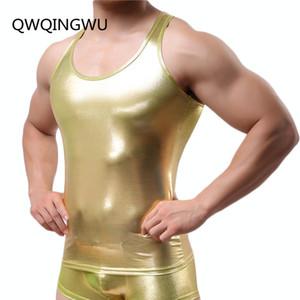 Punk Style Men's Shiny Undershirt Tops Club Wear O Neck Fancy Pullover Slim Fitting PVC Leather T Shirt Cool Men Undershirt