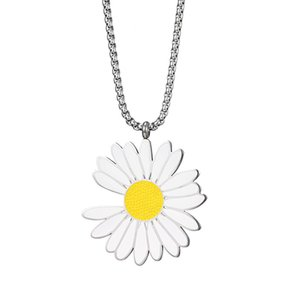 2020 new high quality stainless steel Small daisies pendant necklace for women long silver necklaces jewelry male gift