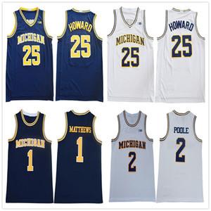 2020 Men NCAA Michigan Wolverines 1 Charles Matthews 2 Pool 25 Juwan Howard White Navy Yellow basketball jersey College embroidered Stitched