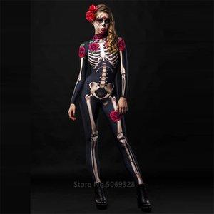 Skeleton Rose Sexy Frauen Halloween-Teufel-Geist-Overall-Partei Karneval Leistung Scary Kostüm Kind-Baby-Tag der Toten