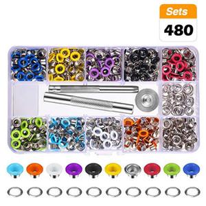 480pcs Tool Kit boutons à pression Œillets Kit Métal 12 couleurs 3/16 pouces Kits Oeillets pour chaussures Vêtements Artisanat Sac bricolage main