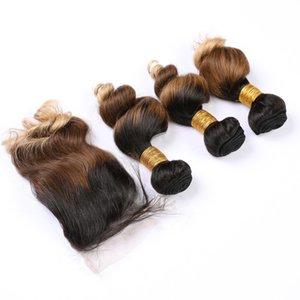 Ombre Блонды Виргинских Пучки волос с Closure # 1B / # 27 / # 613 Dark Root 3 Связки Ombre Связки с Closure свободной волной