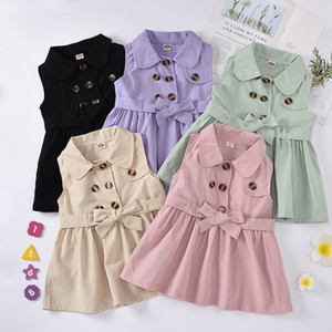 kids clothes girls Turn-down Collar vest dress children sleeveless Princess Dresses 2020 summer fashion baby Clothing Z0970