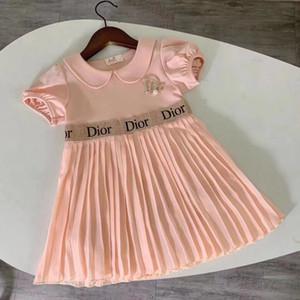 vestidos de verão da marca Caçoa meninas de manga curta vestido populares plissado crianças meninas
