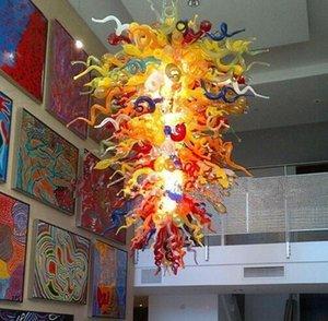 Lampade a lobby ingresso Grandi lampadari di cristallo Lampadari di cristallo illuminazione per spazi alti soffitti Sala da pranzo a mano Art Blown Art Pendant in vetro