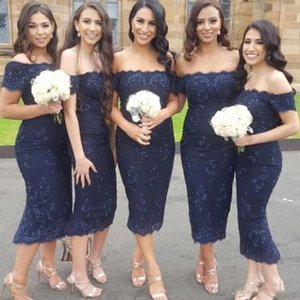 2020 Off The Shoulder Appliqued Bridesmaid Dresses Sexy Country Bridesmaids Dresses Tea Length Cheap Maid Of Honor Gown