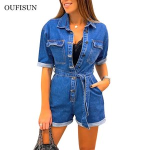 Oufisun Mode Femmes Jeans Bodysuit Turn Down Col Denim Jeans court coton Combinaisons Romper femmes Jumpsuit Salopette ensemble