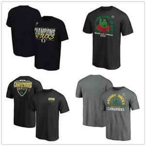 NCAA Erkekler Oregon Koleji Fanatics Markalı 2020 Rose Bowl Şampiyonlar Alıcı Tişörtler Siyah Kırmızı Mavi Baskılı Logolar fanlar üst tee Ördekler