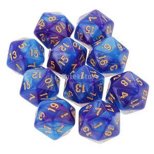 MagiDeal 10pcs 20 Sided Dice D20 Polyhedral Würfel für Dungeons and Dragons Tischspiele Acryl DND RPG MTG Dice