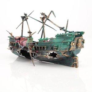 가정용 생선 풀 장식품 장식 보트를위한 수족관 장식 선박 항공 분할 난파선 물고기 탱크 장식 침몰 난파선 보트