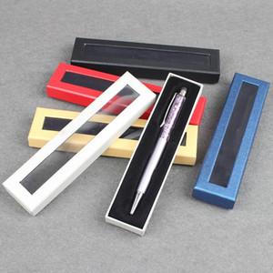 caixas de papel de caixa de caneta caixa de papel papelão geral criativo embalagem presente caixa de cartão com a janela de plástico PVC
