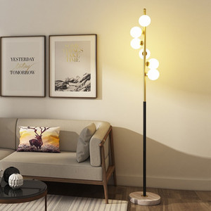 Nordic floor lamp bedroom living room personality creative ball iron art warm post-modern study bedside glass lamp L123