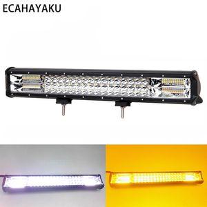 ECAHAYAKU 20inch Flash 288W Triple Row LED Light Bar Combo for off road trucks قارب suv atv 4wd سيارة ستروب الصمام بار