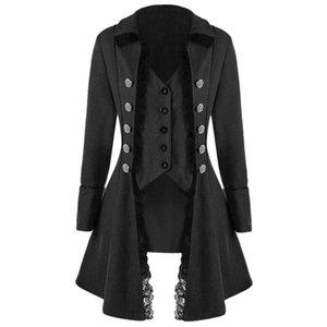 Joineles Autunno Inverno Stile gotico Cappotti lunghi da donna Bottoni tripli solidi Cappotto spesso Risvolto Pizzo Slim Outwear femminile