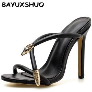 BAYUXSHUO Римский Стиль Дамы Туфли На Высоких Каблуках Обувь Металлическая Голова Змеи Украшения Шпильках Лето Сексуальная Партия женская Обувь