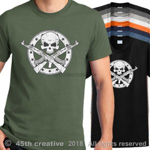T-Shirt Skull T-Shirt Bone Shirt Rifle T-Shirt- Show Original Title Men Summer Casual Design T Shirt