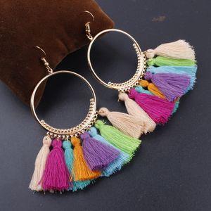 Diseñador de moda étnica bohemio pendientes de la borla para las mujeres de la joyería colorida Big Hoop cuelga los pendientes pendientes pendientes declaración