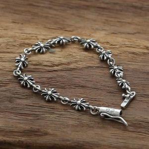 Joyas de plata esterlina 925 personalizadas vintage europeo europeo antiguo plata artesanal cruces de diseñador pulseras de encanto para mujeres