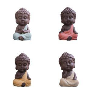 Set 4pcs Little Buddha Monk Teehaus Miniatur Figurine Keramik Statue