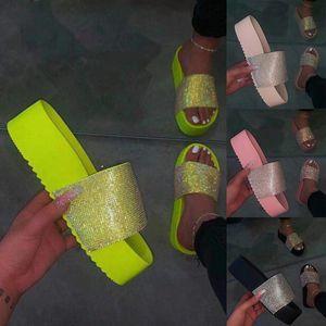 Beach Sandals Slippers Rhinestone Fashion Spring Summer Waterproof Ladies Women Slides Cotton Fabric Flat With Eva Fits True To Y200706