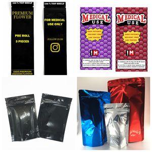 Cartucho de Vape Personalizado Embalagem Preinter Pacote de Arenga Pacotes de Erva Seco Projetos Adesivo OEM 3.5G 7G 10G sacos caixas