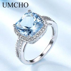 UMCHO romantica creata da Sky Blue Topaz della pietra preziosa Acquamarina Anelli 925 anelli d'argento per regalo di fidanzamento Women SH190930 Jewelry