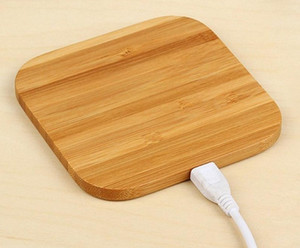 Bamboo chargeur sans fil en bois en bois Pad Qi Dock rapide charge USB de charge Tablet Câble pour l'iPhone 11 Pro Max pour Samsung note10 plus LLFA