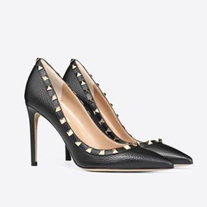 Women Dress Shoes Rock Patent High Heels Pompes stud Rivets réel chaussures de mariage en cuir bout pointu Party Valentine cadeau Chaussures de marque Box 34-43