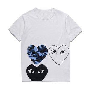 Neue 2019 CDG T-Shirts Sommer Japanisches Herz Justin Bieber Kurzärmliges T-Shirt mit weißen blauen Augen und großem schwarzen Herzen für Männer und Frauen