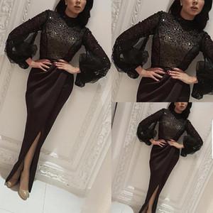 túnicas negras de caftán abaya Dubai Cuentas O Cuello de manga larga de la sirena larga dividida por la fiesta de noche formal de la celebridad de baile vestidos de los vestidos de satén