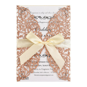 Laser Cut Greeting Card Wedding Party Invitation Card with Envelop Bow Tie Hollow Paper Postcard Greeting Cards HC34