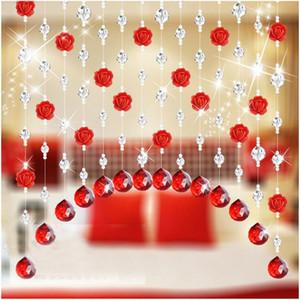 2018 크리스탈 유리 로즈 비드 커튼 거실 침실 창 문 웨딩 장식 3QW0528
