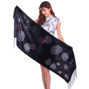 High Quality Honour Velvet Rose Scarf Women Shawl For Wedding Daily Dress Lady Burnout Pashmina Spring Winter Gift For Mom Wife