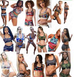 17 femmes de couleurs Designer imprimé Lettre Maillot de bain Débardeur Soutien-gorge push-up + Shorts Maillots de bain 2 pièces bikini ensemble Tankinis Maillots de Bain D61808