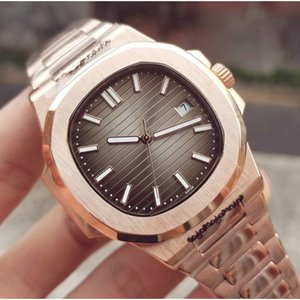 Top Nautilus Rose relógio de ouro SS Homens 2813 Movimento Automático Relógios prata caso Moda mens mecânico de pulso btime