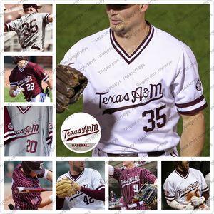 Özel 2020 Texas AM Aggies Beyzbol # 35 Asa Lacy 23 Christian Roa 9 Zach DeLoach 42 Jake Nelson Erkekler Gençlik Kid Jersey 4XL
