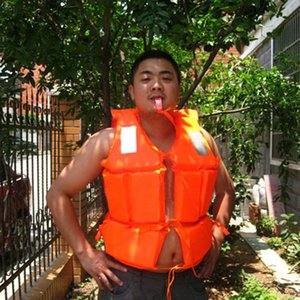 Professional Adult Working Life Jacket Foam Vest Survival Suit with Whistle Outdoor Swimwear Water Sport Swimming Drifting Fishing Orange