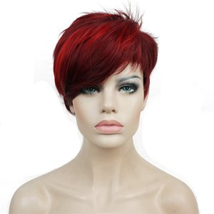 None-Lace StrongBeauty Women's Red Short wig Pixie Cut Synthetic Capless Wigs Natural Synthetic None-Lace Wigs