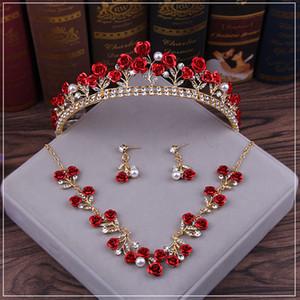 Rosen-Blumen-2019 Red Brauttiara- Strass Kopfstück Kristallbrautstirnband-Haar-Zusatz-Abend-Partei-Braut-Kleider