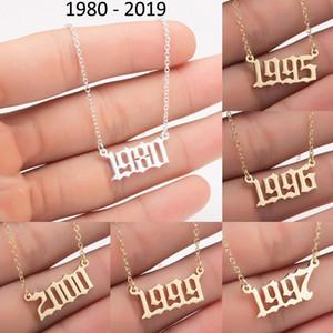 Anno di nascita personalizzato Numero Collane in acciaio inox Acciaio inox Personalizzato Donne Collana pendente iniziale Mens Special Birthday Jewelry Regali 1980-2019