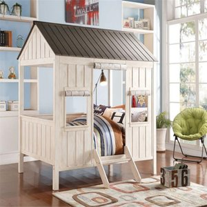 ACME Spring Cottage Full Bed in Weathered White Washed Gray 37655F Modern Style In Stock Bed Fast Shipping