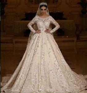Manga larga de encaje Una línea de vestidos de novia Apliques de encaje Vestidos de novia con cuentas 2019 Medio Oriente Dubai Vestidos de novia Robe De Mariee