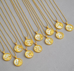 twelve constellations necklaces female symbol necklace 18k yellow gold necklace zodiac constellation pendant with chain free shipping