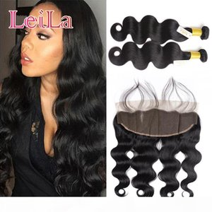 Malaysian 2 Bundles With 13 X 4 Lace Frontal 3Pcs set Body wave Human Hair Virgin Hair Wefts With Closure