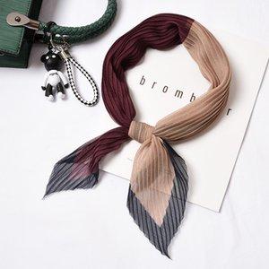 Femmes en mousseline de soie Petit Bandana Crinkle cou écharpe Rhombus Foulard Bandeau plissage soie Imprimer Neckwear mince [3949] T200429