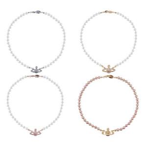 Moderne weibliche Halskette Marke Western Queen Mutter Vivienne Vivienne Saturn Perlenkette Claviclekette Punk Atmosphere