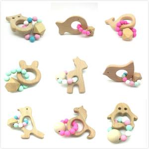 Bebê mordedor Rings Food Grade madeira de faia mordedor Teethers Chew Toys Duche Reproduzir Chew contas de madeira Rodada