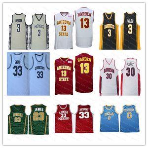 Hombres baratos NCAA Georgetown 3 Iverson College Camiseta de béisbol James 13 Harden Arizona State Stephen 30 Curry 3 Wade Irish 23 James 33 Bryant