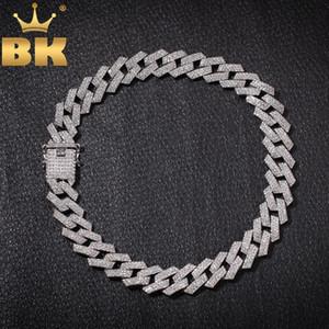 BLING KING 20мм зубец кубинский звеньевые цепи ожерелья Hiphop ювелирных изделий 3 Ряд Стразы Iced Out Ожерелье для мужчин T200113